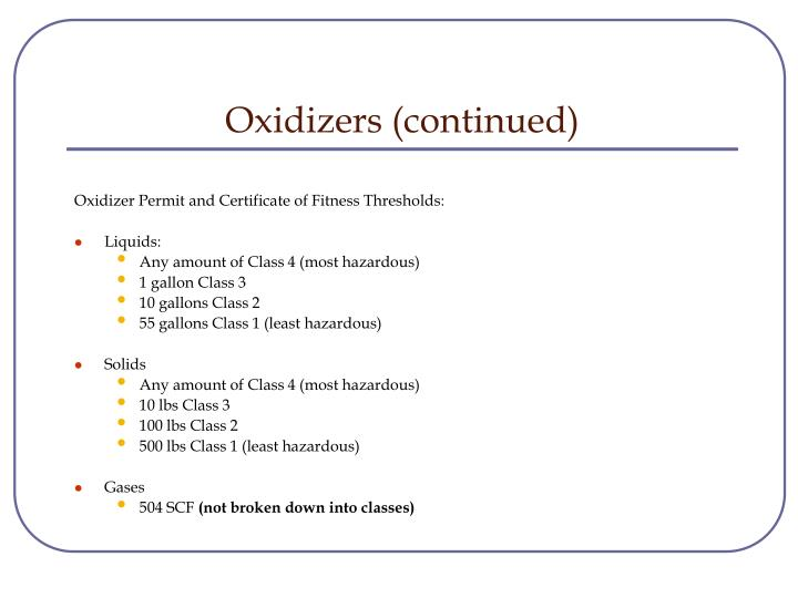 Oxidizers (continued)