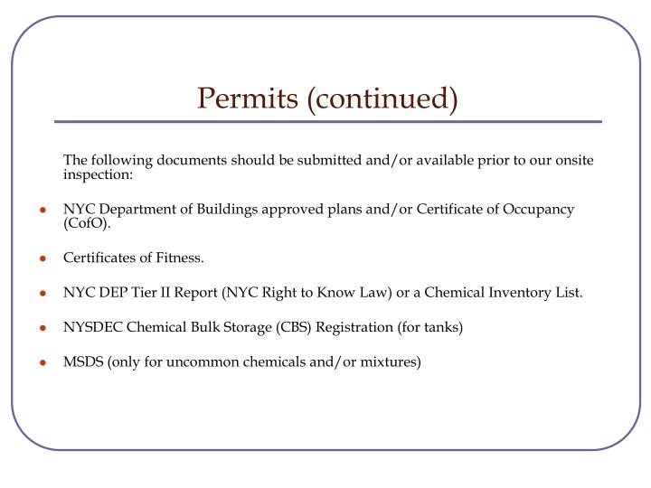 Permits (continued)