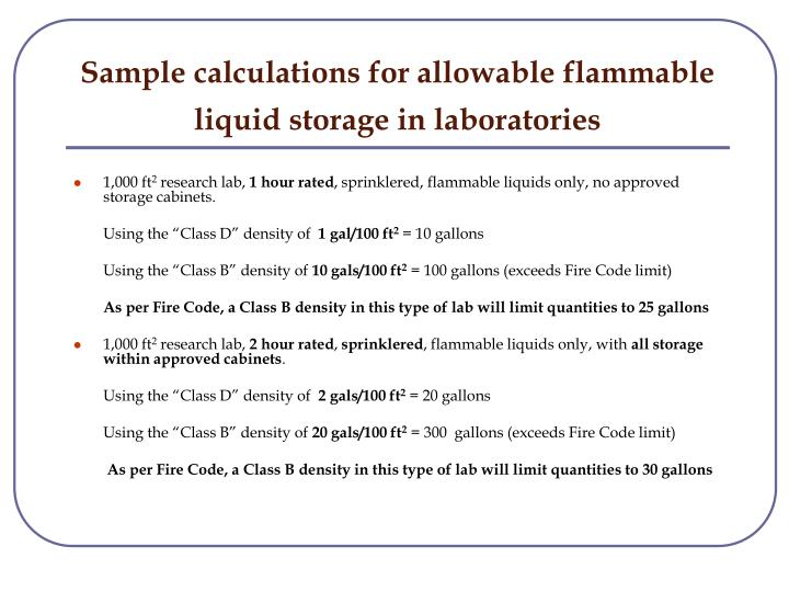 Sample calculations for allowable flammable liquid storage in laboratories
