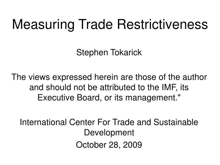 Measuring Trade Restrictiveness