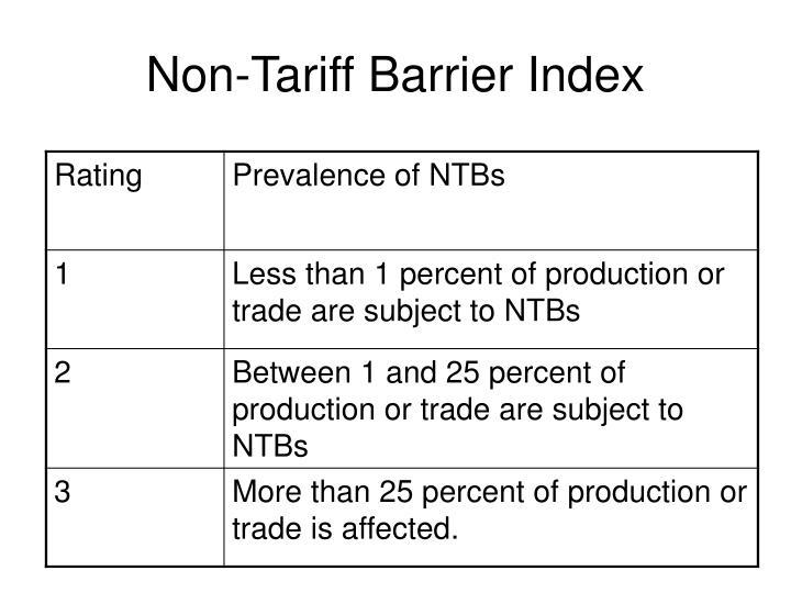 Non-Tariff Barrier Index