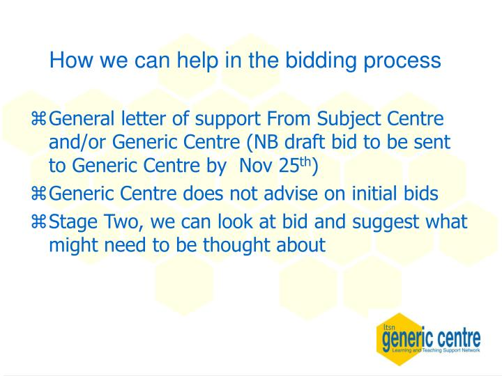 How we can help in the bidding process