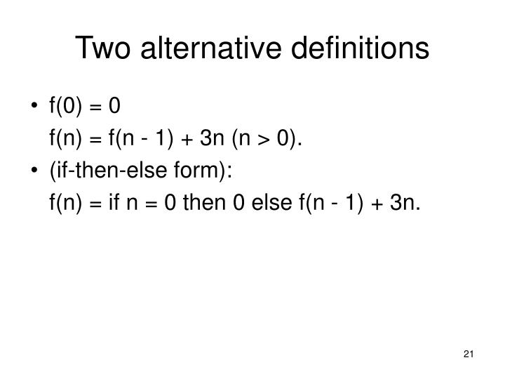 Two alternative definitions