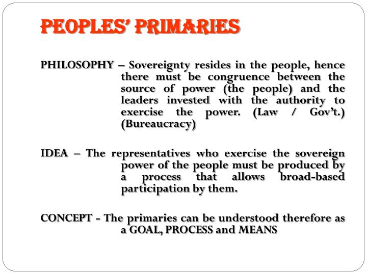 PEOPLES' PRIMARIES