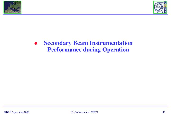 Secondary Beam Instrumentation Performance during Operation