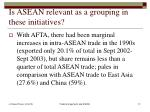 is asean relevant as a grouping in these initiatives