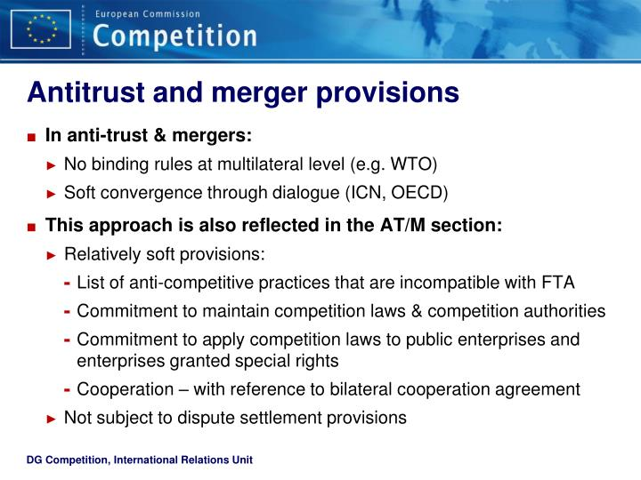 Antitrust and merger provisions