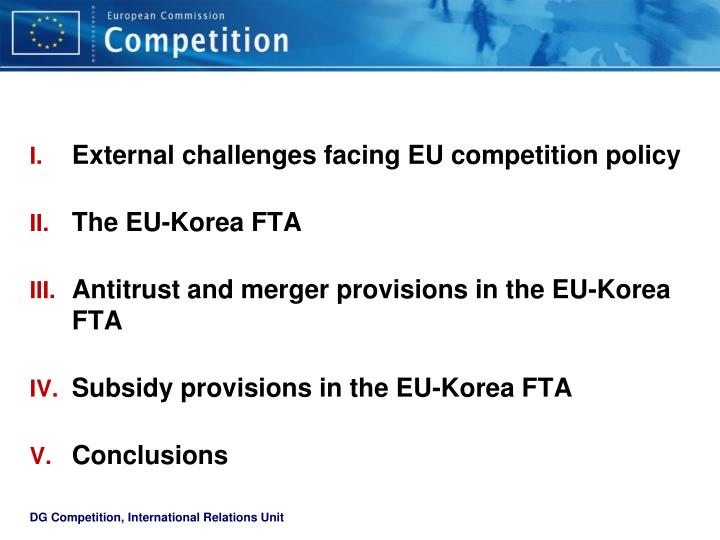 External challenges facing EU competition policy