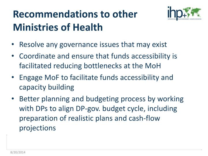Recommendations to other Ministries of Health
