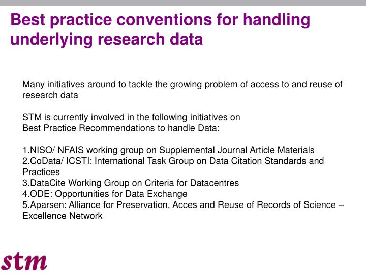 Best practice conventions for handling underlying research data