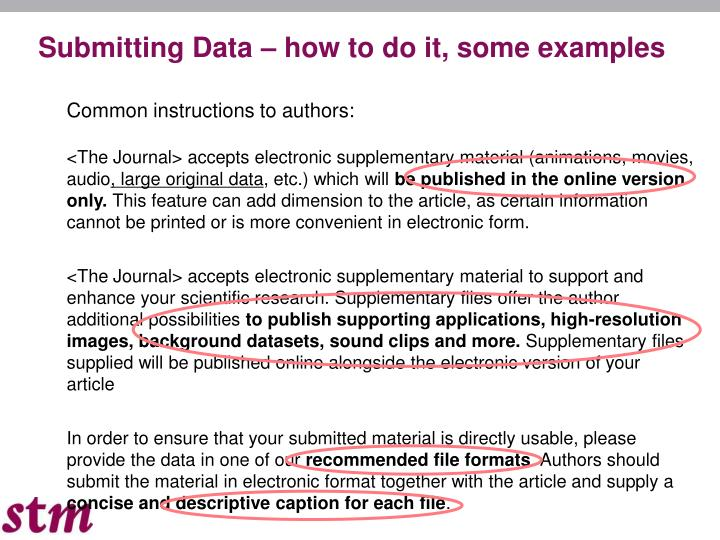 Submitting Data – how to do it, some examples