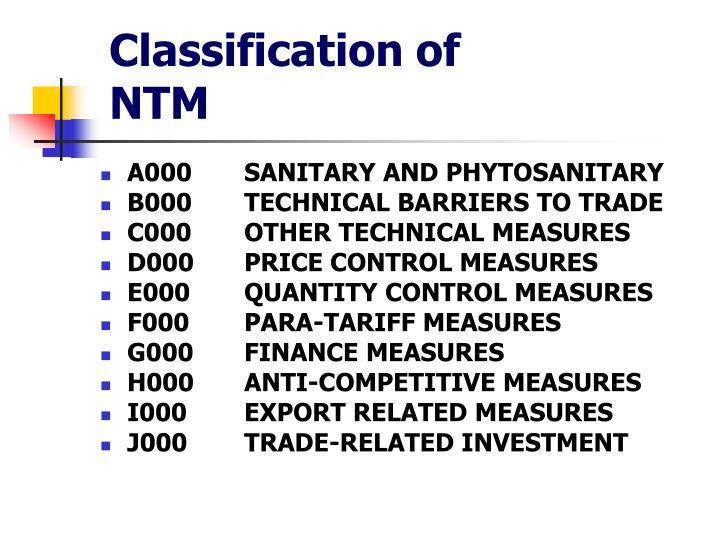 Classification of NTM
