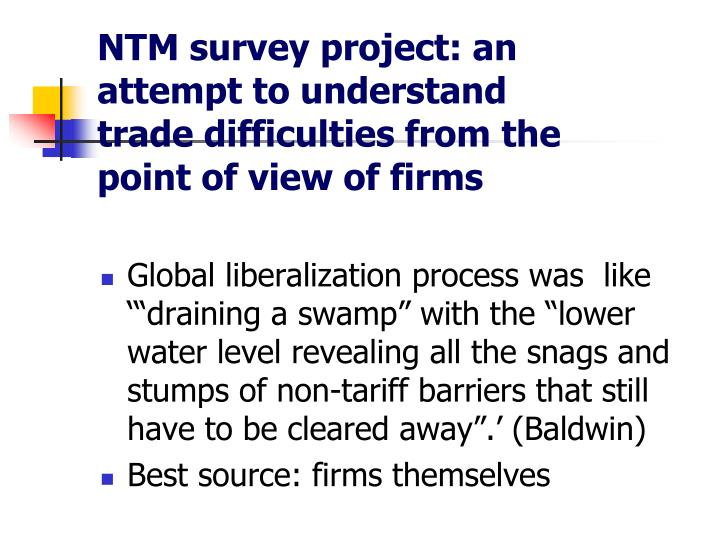 NTM survey project: an attempt to understand trade difficulties from the point of view of firms