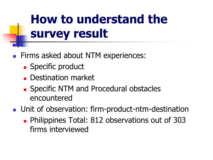 How to understand the survey result
