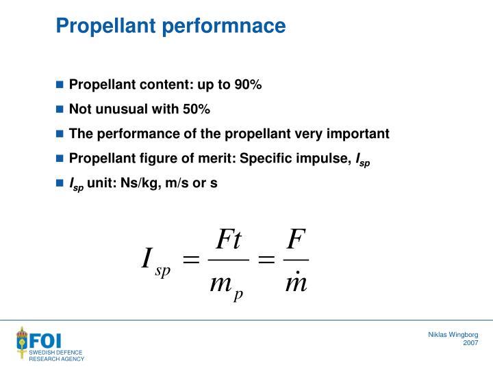 Propellant performnace
