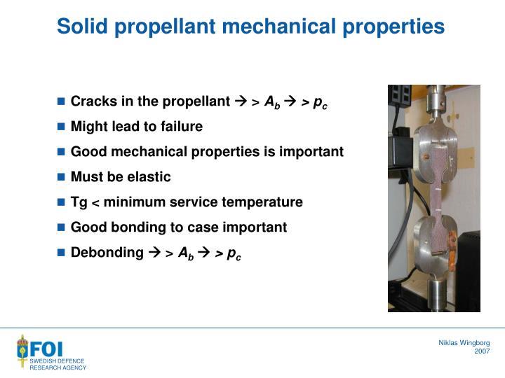 Solid propellant mechanical properties