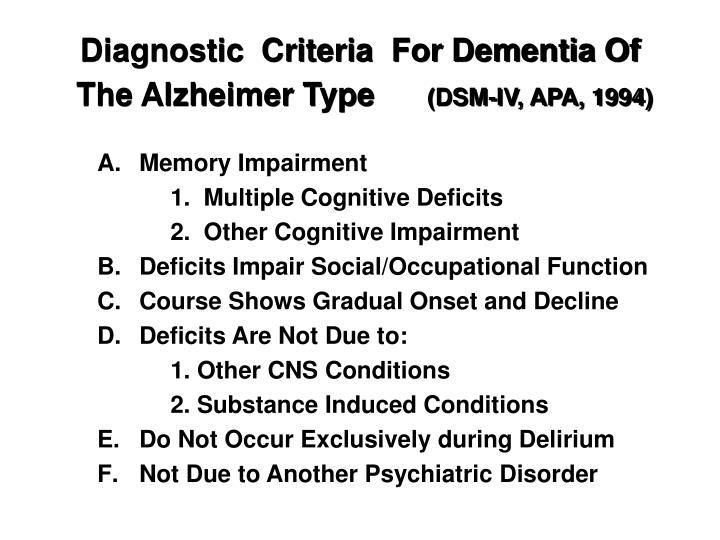 Diagnostic  Criteria  For Dementia Of