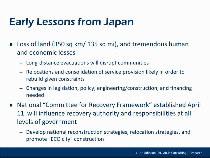 Early Lessons from Japan