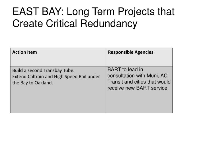 EAST BAY: Long Term Projects that Create Critical Redundancy