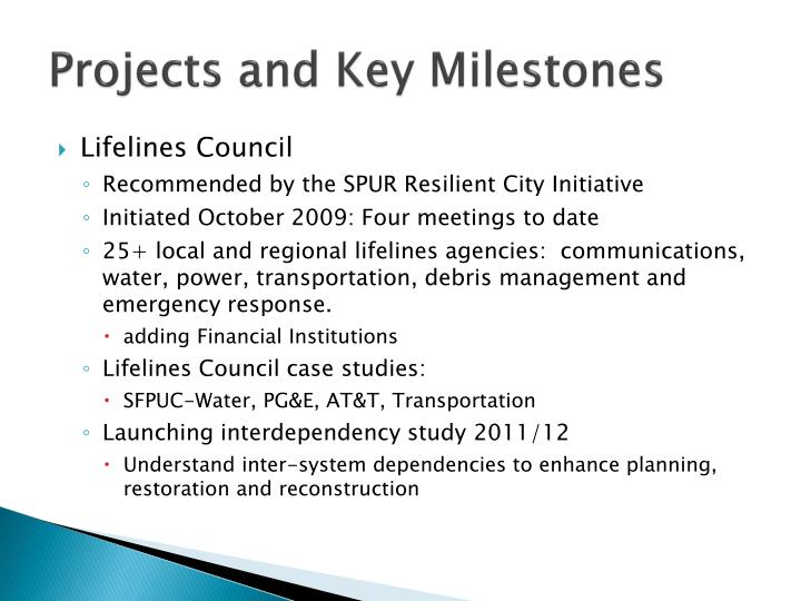 Projects and Key Milestones