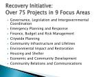 recovery initiative over 75 projects in 9 focus areas
