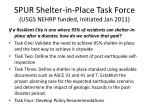 spur shelter in place task force usgs nehrp funded initiated jan 2011