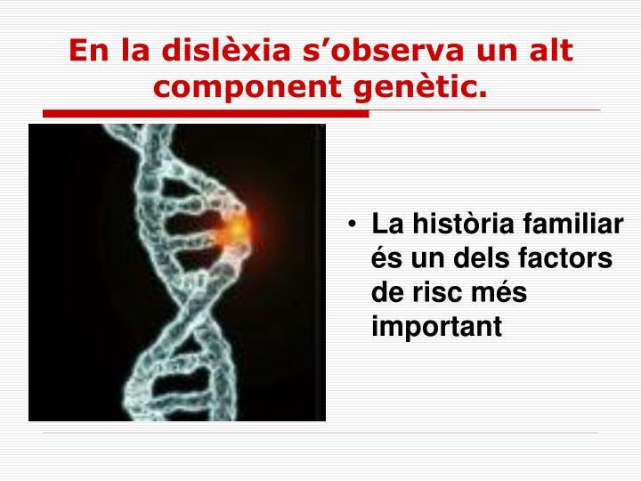 En la dislèxia s'observa un alt component genètic.