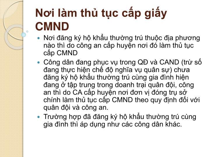 Nơi làm thủ tục cấp giấy CMND