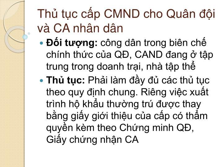 Thủ tục cấp CMND cho Quân đội và CA nhân dân