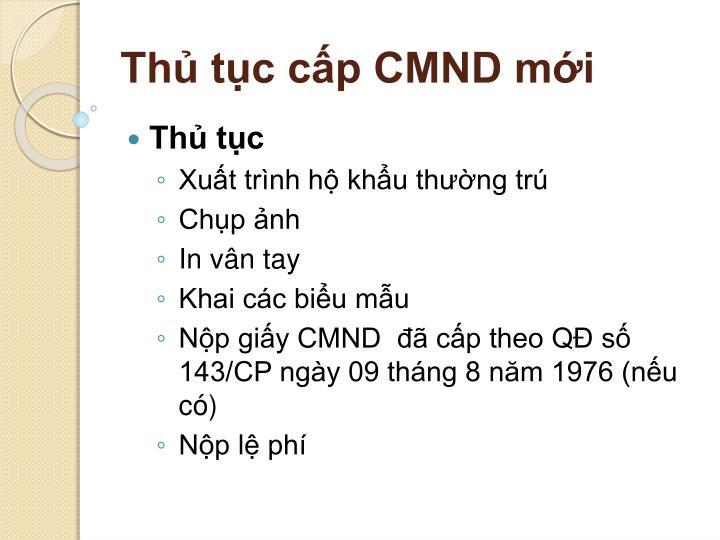 Thủ tục cấp CMND mới