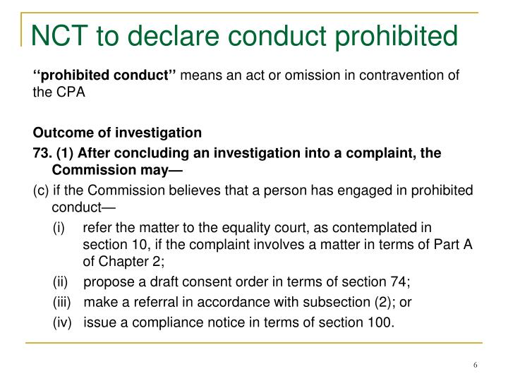 NCT to declare conduct prohibited