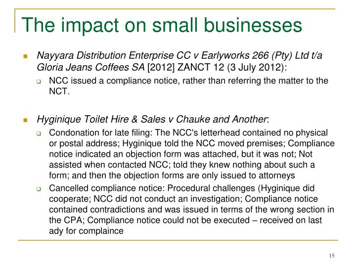 The impact on small businesses