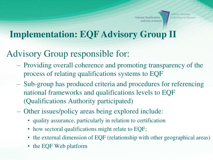 Advisory Group responsible for: