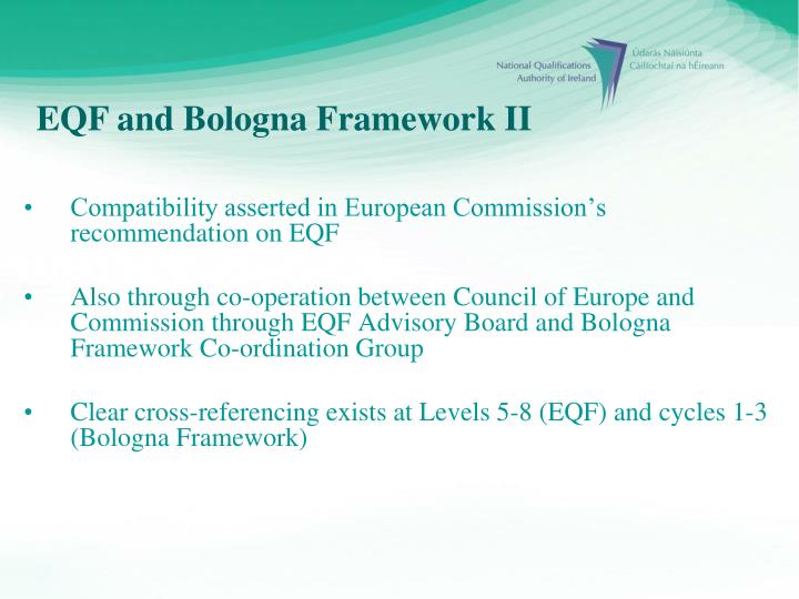 Compatibility asserted in European Commission's recommendation on EQF