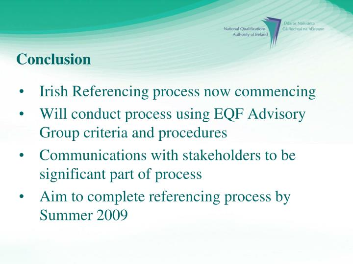 Irish Referencing process now commencing