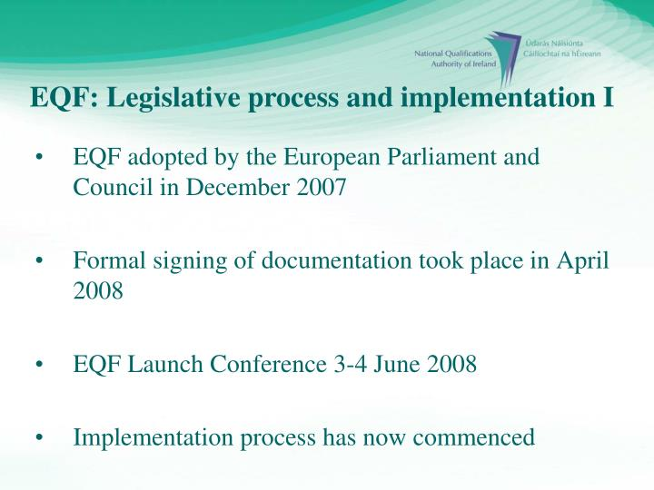 EQF adopted by the European Parliament and Council in December 2007