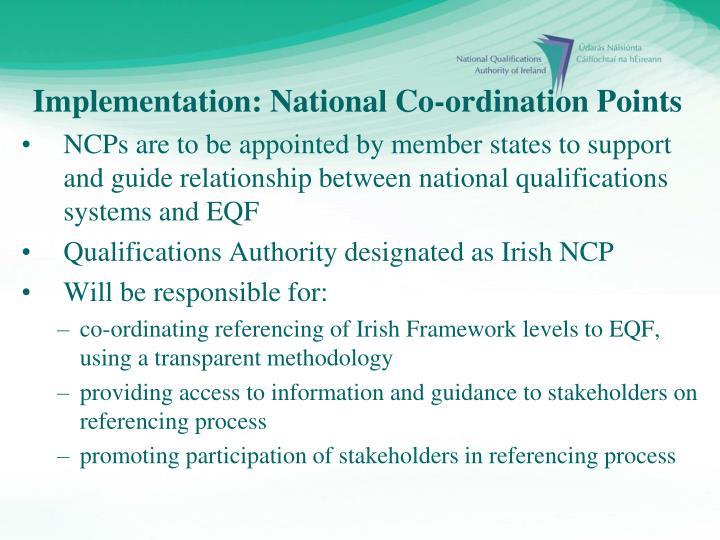 Implementation: National Co-ordination Points