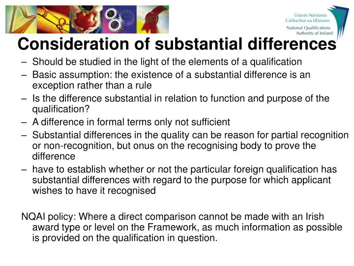 Consideration of substantial differences