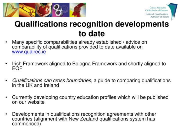 Qualifications recognition developments