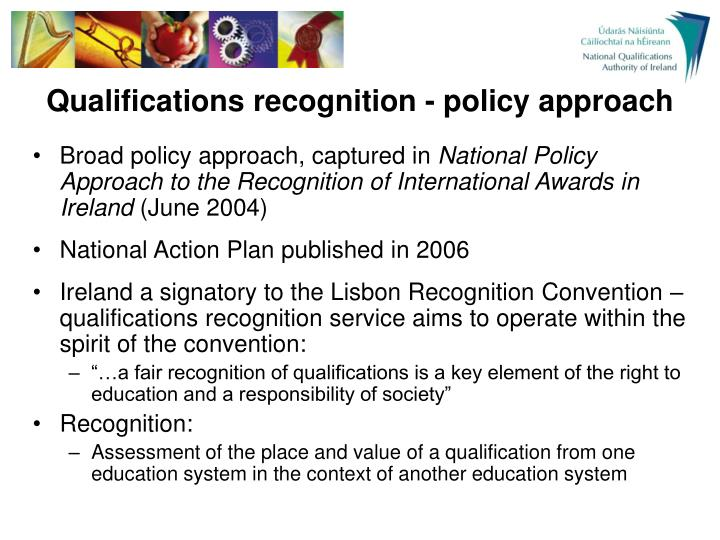Qualifications recognition - policy approach