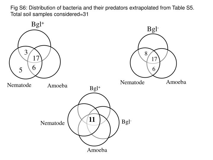 Fig S6: Distribution of bacteria and their predators extrapolated from Table S5.