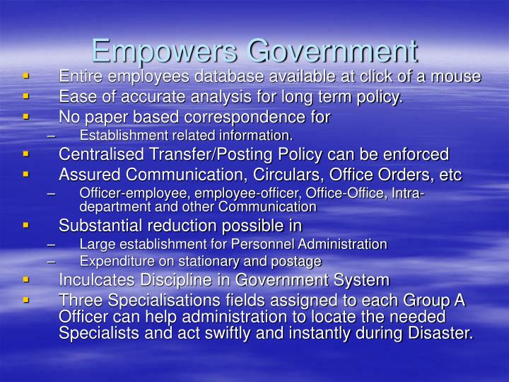 Empowers Government