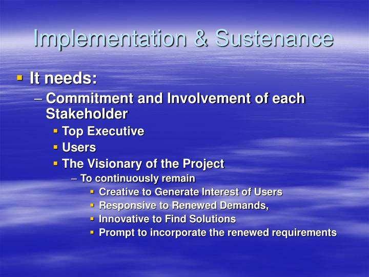 Implementation & Sustenance