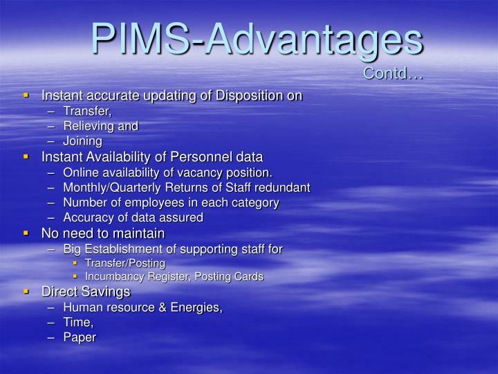 PIMS-Advantages