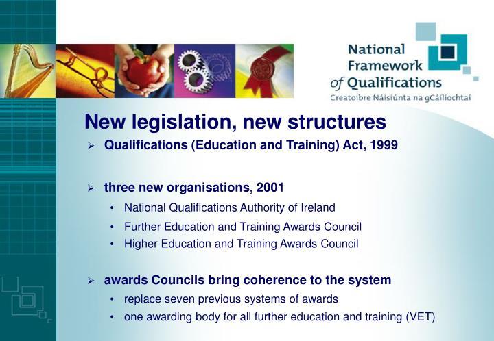 New legislation, new structures