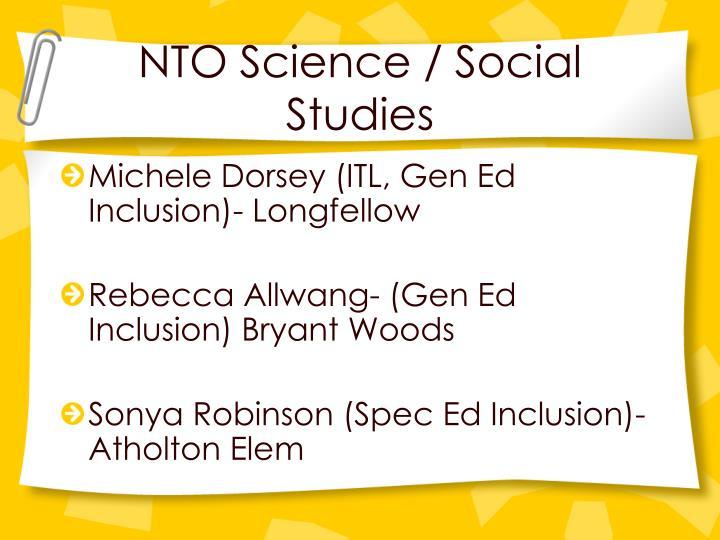 NTO Science / Social Studies