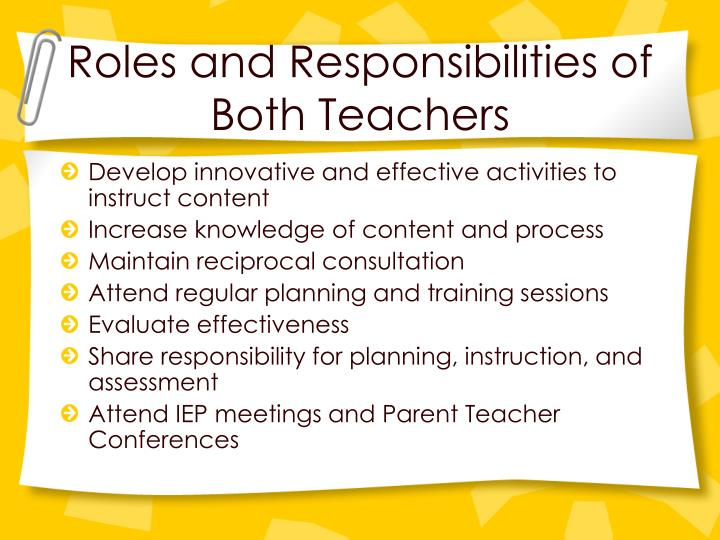 Roles and Responsibilities of Both Teachers