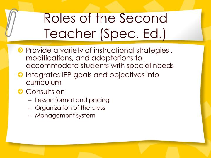 Roles of the Second Teacher (Spec. Ed.)