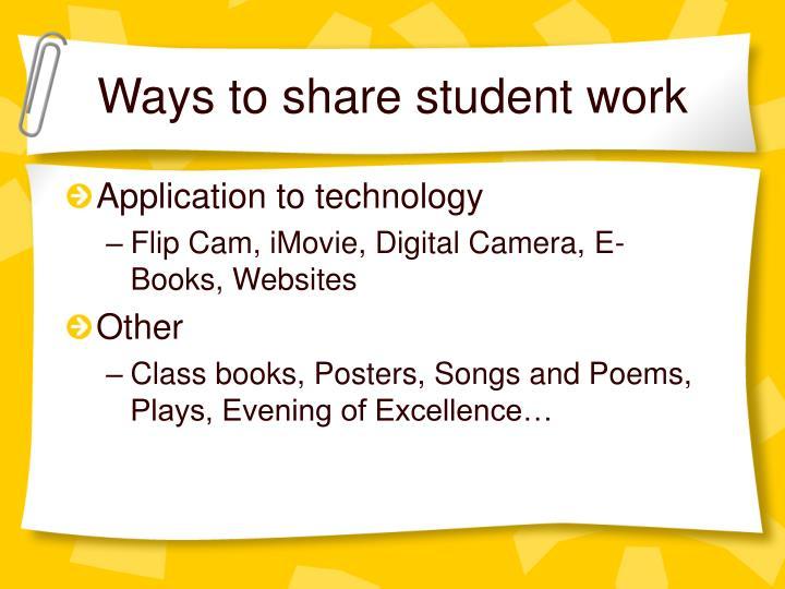 Ways to share student work