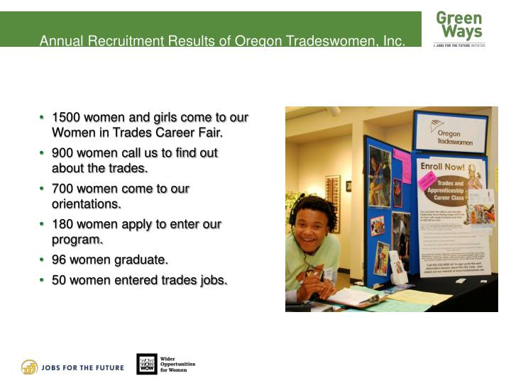 Annual Recruitment Results of Oregon Tradeswomen, Inc.